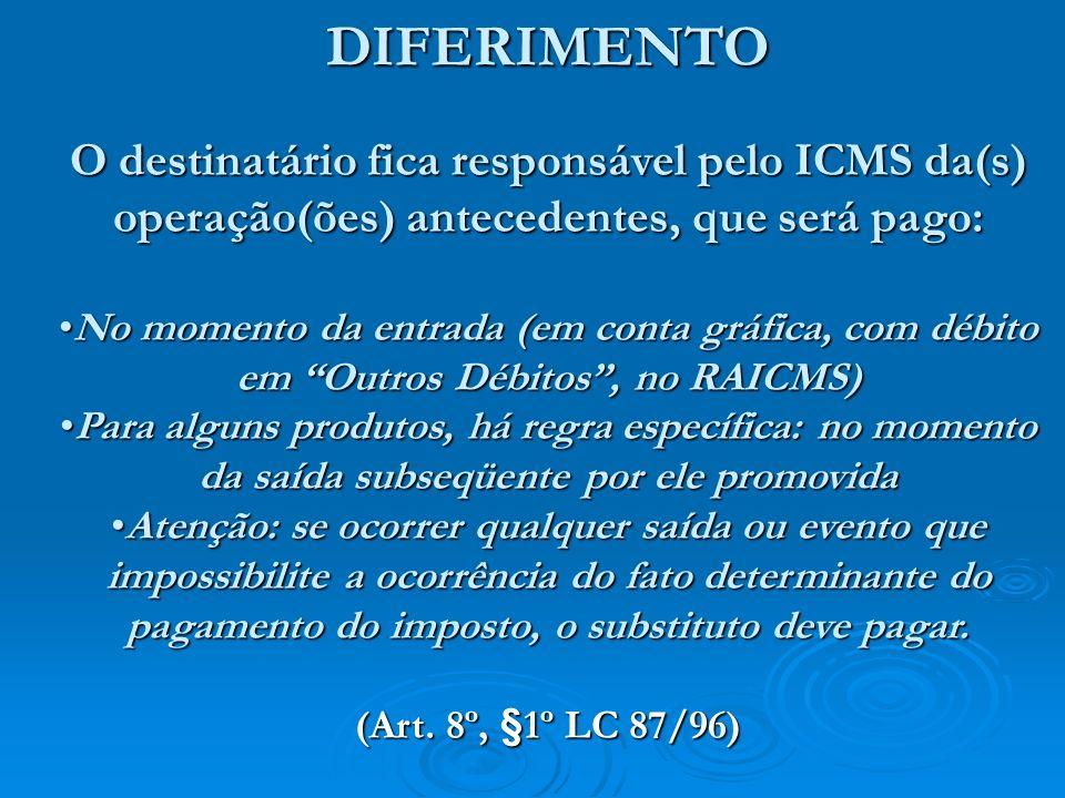 O Simples e o Diferimento A LC 123/06 excetua do tratamento incentivado do SN as operações sujeitas à substituição tributária, então o SN que adquirir mercadoria com diferimento ficará responsável, como substituto, pelo ICMS da(s) operação(ões) antecedentes, pela alíquota normal.