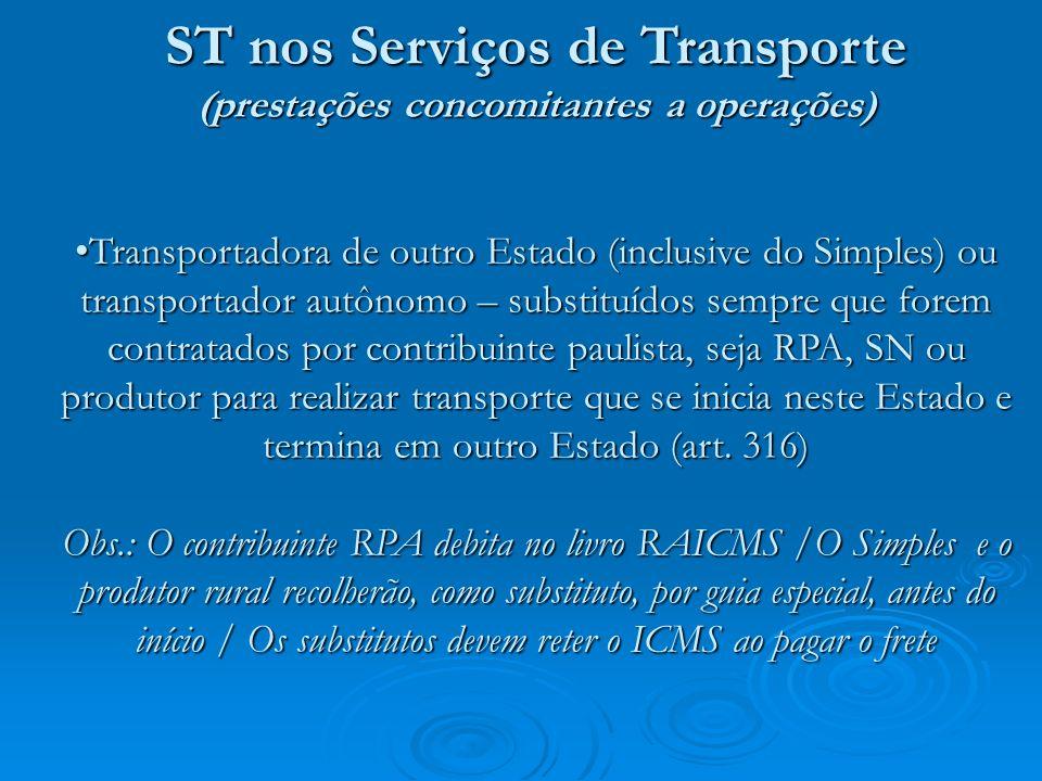para produtos que ingressaram na ST, a partir de fevereiro/08: tanto as empresas do RPA, como as do SN, pagam por guia de recolhimentos especiais o ICMS antecipado, na entrada no Estado (código 063-2) (art.