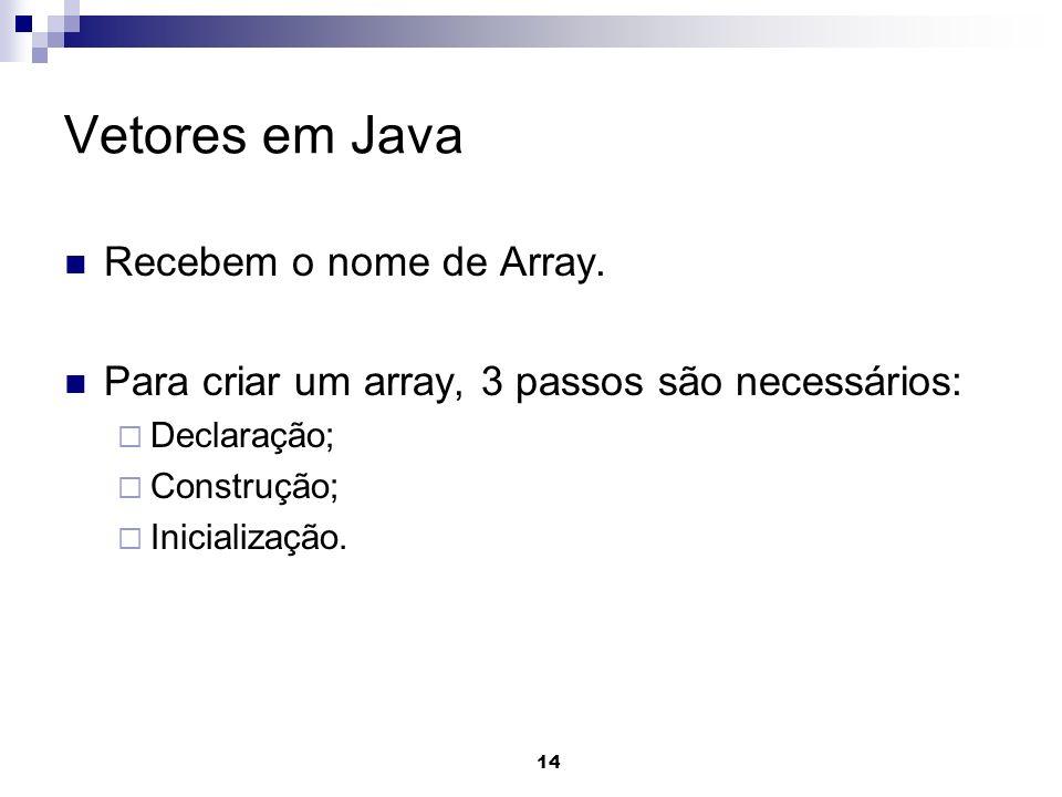 14 Vetores em Java Recebem o nome de Array. Para criar um array, 3 passos são necessários: Declaração; Construção; Inicialização.
