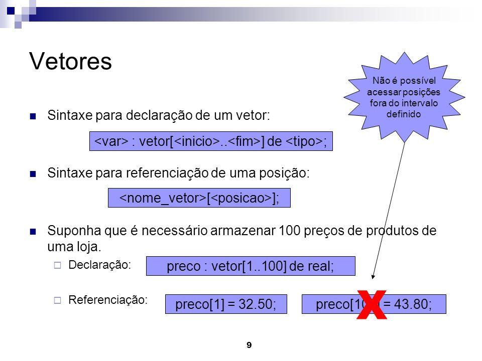 9 Vetores Sintaxe para declaração de um vetor: Sintaxe para referenciação de uma posição: Suponha que é necessário armazenar 100 preços de produtos de