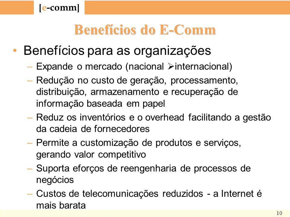 [ e-comm ] 10 Benefícios do E-Comm Benefícios para as organizações –Expande o mercado (nacional internacional) –Redução no custo de geração, processam