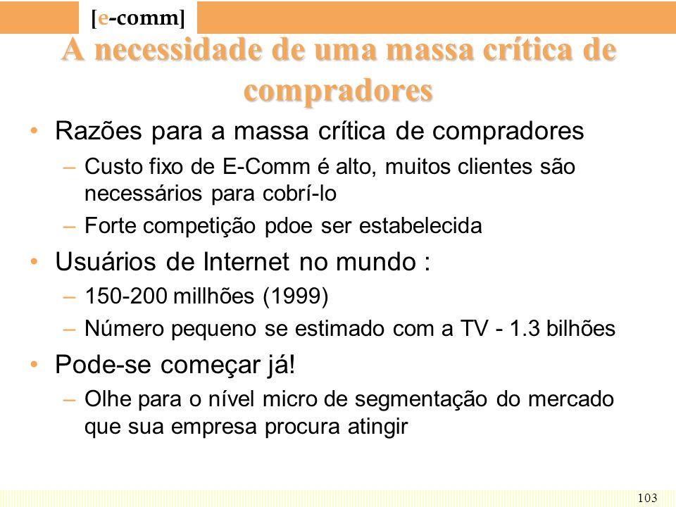 [ e-comm ] 103 A necessidade de uma massa crítica de compradores Razões para a massa crítica de compradores –Custo fixo de E-Comm é alto, muitos clien