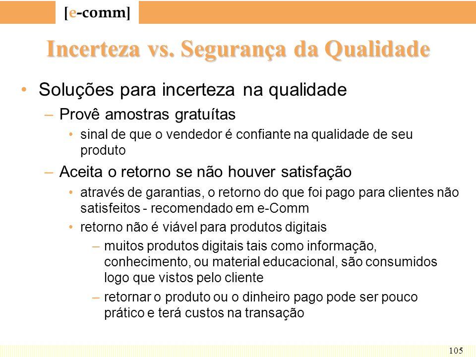 [ e-comm ] 105 Incerteza vs. Segurança da Qualidade Soluções para incerteza na qualidade –Provê amostras gratuítas sinal de que o vendedor é confiante