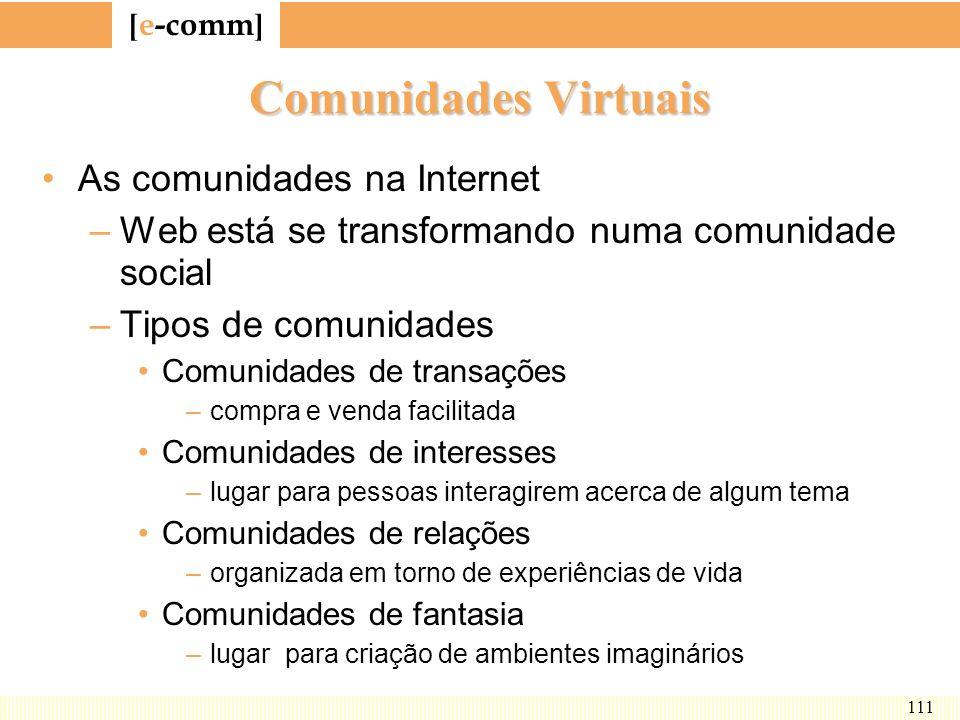 [ e-comm ] 111 Comunidades Virtuais As comunidades na Internet –Web está se transformando numa comunidade social –Tipos de comunidades Comunidades de