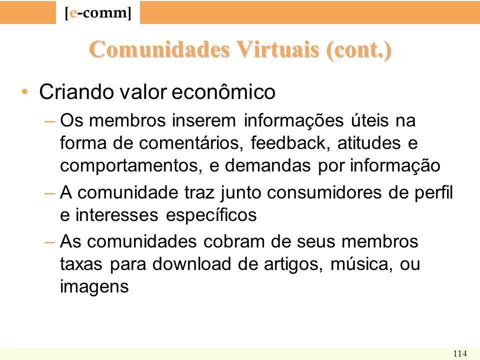 [ e-comm ] 114 Comunidades Virtuais (cont.) Criando valor econômico –Os membros inserem informações úteis na forma de comentários, feedback, atitudes