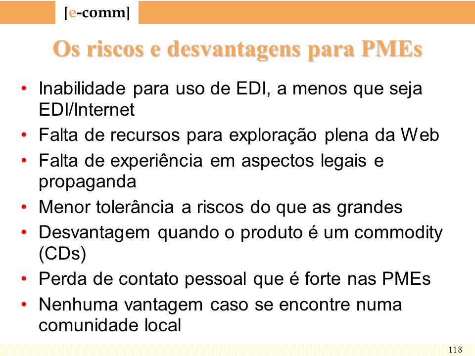 [ e-comm ] 118 Os riscos e desvantagens para PMEs Inabilidade para uso de EDI, a menos que seja EDI/Internet Falta de recursos para exploração plena d