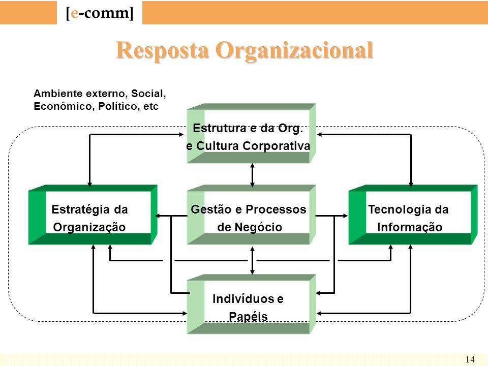 [ e-comm ] 14 Resposta Organizacional Gestão e Processos de Negócio Estrutura e da Org. e Cultura Corporativa Indivíduos e Papéis Tecnologia da Inform