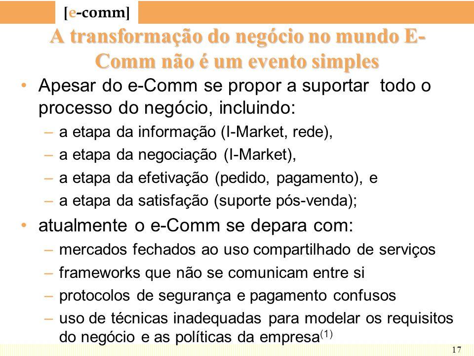 [ e-comm ] 17 A transformação do negócio no mundo E- Comm não é um evento simples Apesar do e-Comm se propor a suportar todo o processo do negócio, in