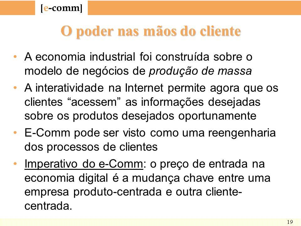[ e-comm ] 19 O poder nas mãos do cliente A economia industrial foi construída sobre o modelo de negócios de produção de massa A interatividade na Int