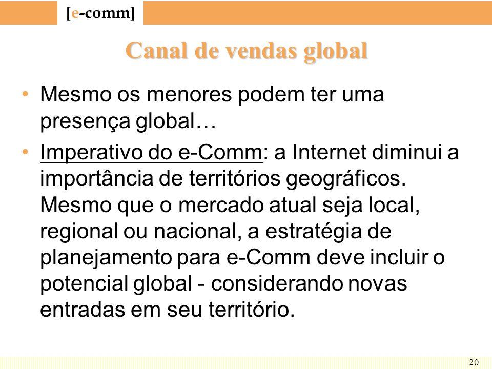 [ e-comm ] 20 Canal de vendas global Mesmo os menores podem ter uma presença global… Imperativo do e-Comm: a Internet diminui a importância de territó