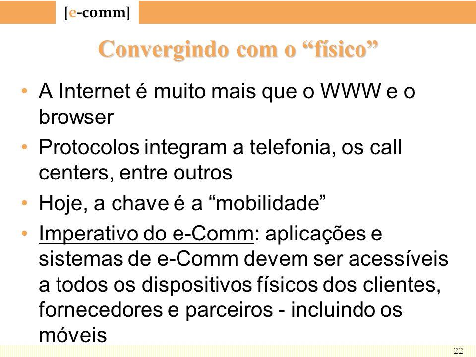 [ e-comm ] 22 Convergindo com o físico A Internet é muito mais que o WWW e o browser Protocolos integram a telefonia, os call centers, entre outros Ho