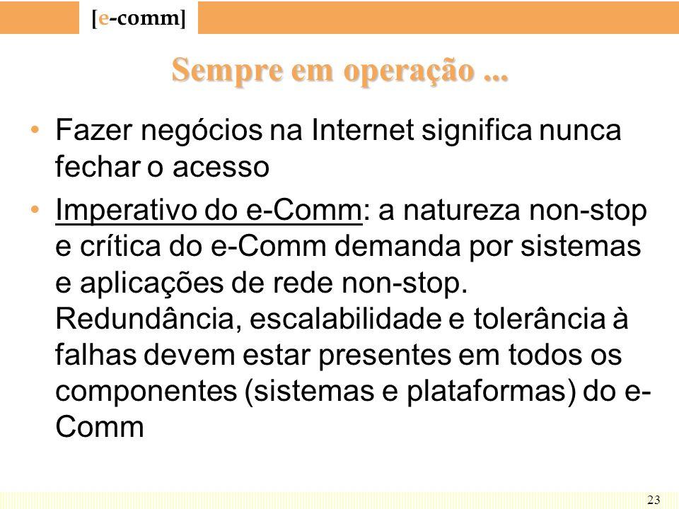 [ e-comm ] 23 Sempre em operação... Fazer negócios na Internet significa nunca fechar o acesso Imperativo do e-Comm: a natureza non-stop e crítica do