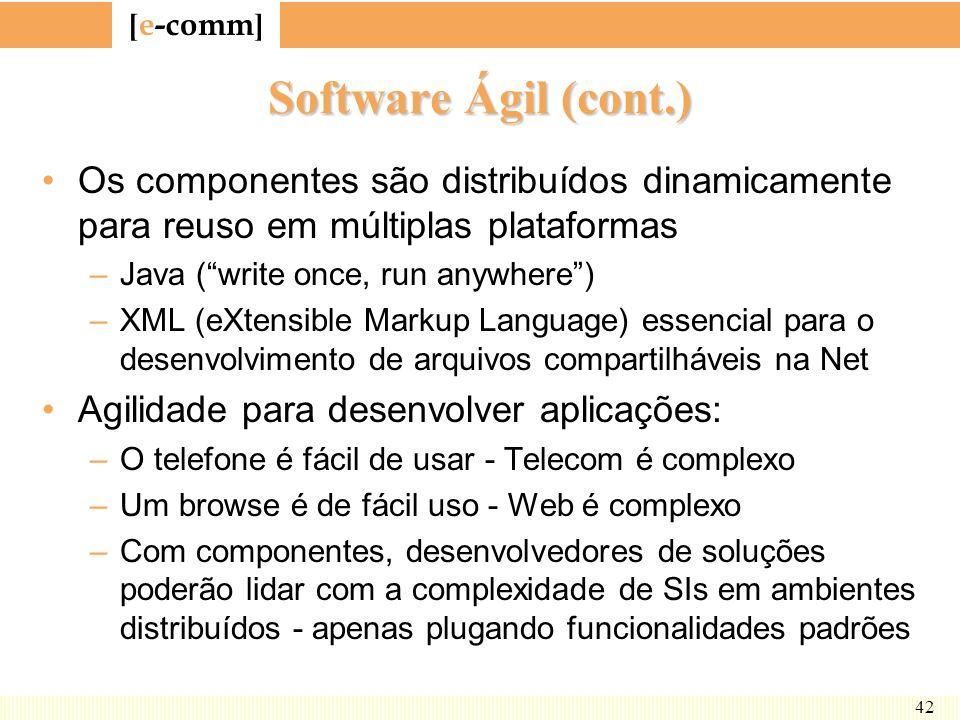 [ e-comm ] 42 Software Ágil (cont.) Os componentes são distribuídos dinamicamente para reuso em múltiplas plataformas –Java (write once, run anywhere)