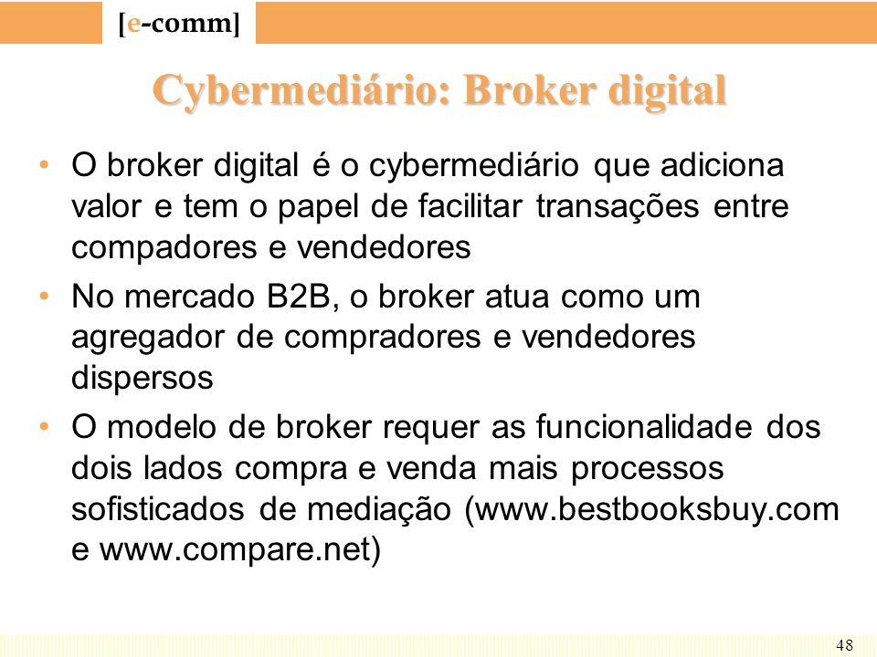 [ e-comm ] 48 Cybermediário: Broker digital O broker digital é o cybermediário que adiciona valor e tem o papel de facilitar transações entre compador