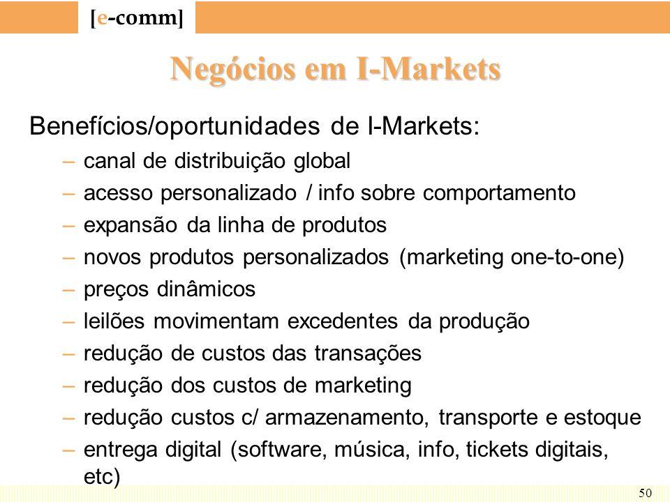 [ e-comm ] 50 Negócios em I-Markets Benefícios/oportunidades de I-Markets: –canal de distribuição global –acesso personalizado / info sobre comportame