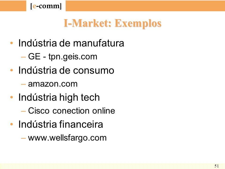 [ e-comm ] 51 I-Market: Exemplos Indústria de manufatura –GE - tpn.geis.com Indústria de consumo –amazon.com Indústria high tech –Cisco conection onli