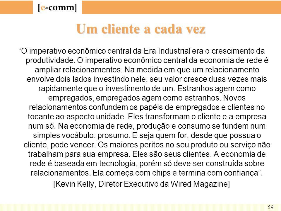 [ e-comm ] 59 Um cliente a cada vez O imperativo econômico central da Era Industrial era o crescimento da produtividade. O imperativo econômico centra