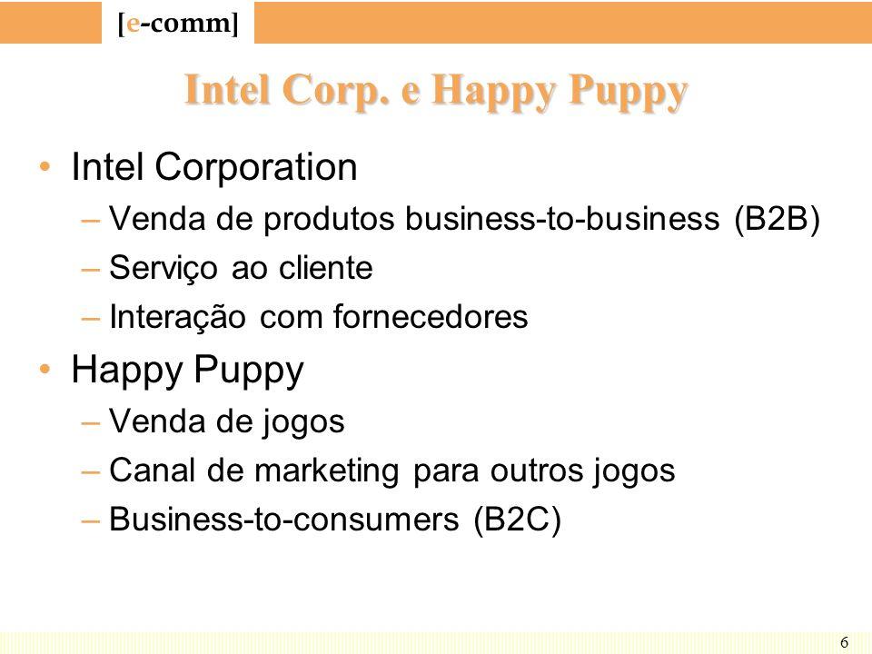 [ e-comm ] 6 Intel Corp. e Happy Puppy Intel Corporation –Venda de produtos business-to-business (B2B) –Serviço ao cliente –Interação com fornecedores