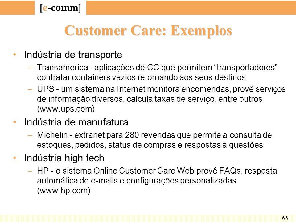 [ e-comm ] 66 Customer Care: Exemplos Indústria de transporte –Transamerica - aplicações de CC que permitem transportadores contratar containers vazio