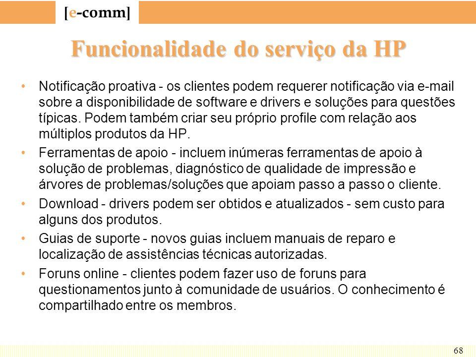 [ e-comm ] 68 Funcionalidade do serviço da HP Notificação proativa - os clientes podem requerer notificação via e-mail sobre a disponibilidade de soft