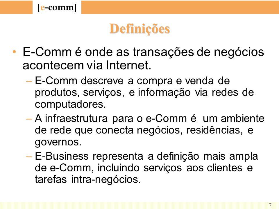 [ e-comm ] 7 Definições E-Comm é onde as transações de negócios acontecem via Internet. –E-Comm descreve a compra e venda de produtos, serviços, e inf