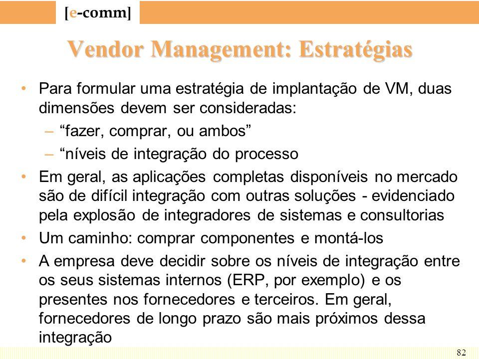 [ e-comm ] 82 Vendor Management: Estratégias Para formular uma estratégia de implantação de VM, duas dimensões devem ser consideradas: –fazer, comprar