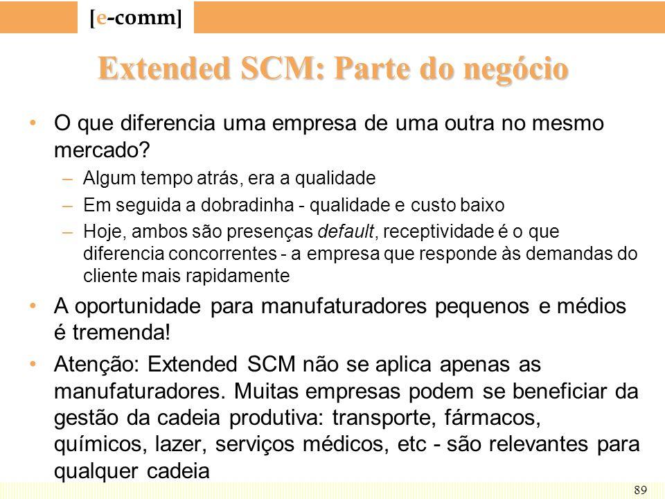 [ e-comm ] 89 Extended SCM: Parte do negócio O que diferencia uma empresa de uma outra no mesmo mercado? –Algum tempo atrás, era a qualidade –Em segui