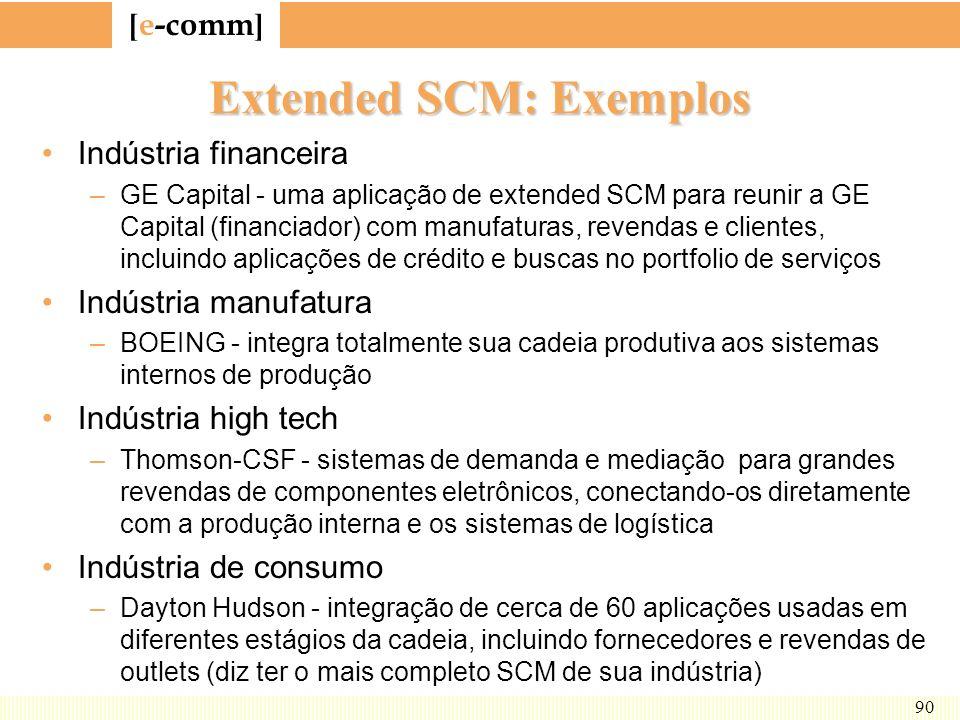 [ e-comm ] 90 Extended SCM: Exemplos Indústria financeira –GE Capital - uma aplicação de extended SCM para reunir a GE Capital (financiador) com manuf