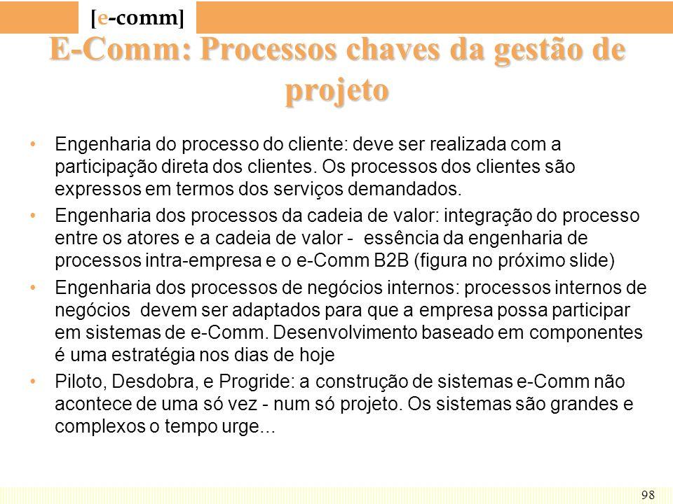 [ e-comm ] 98 E-Comm: Processos chaves da gestão de projeto Engenharia do processo do cliente: deve ser realizada com a participação direta dos client
