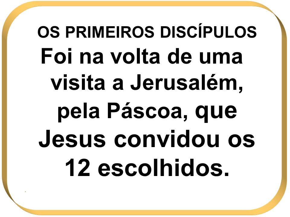 OS PRIMEIROS DISCÍPULOS Foi na volta de uma visita a Jerusalém, pela Páscoa, que Jesus convidou os 12 escolhidos..