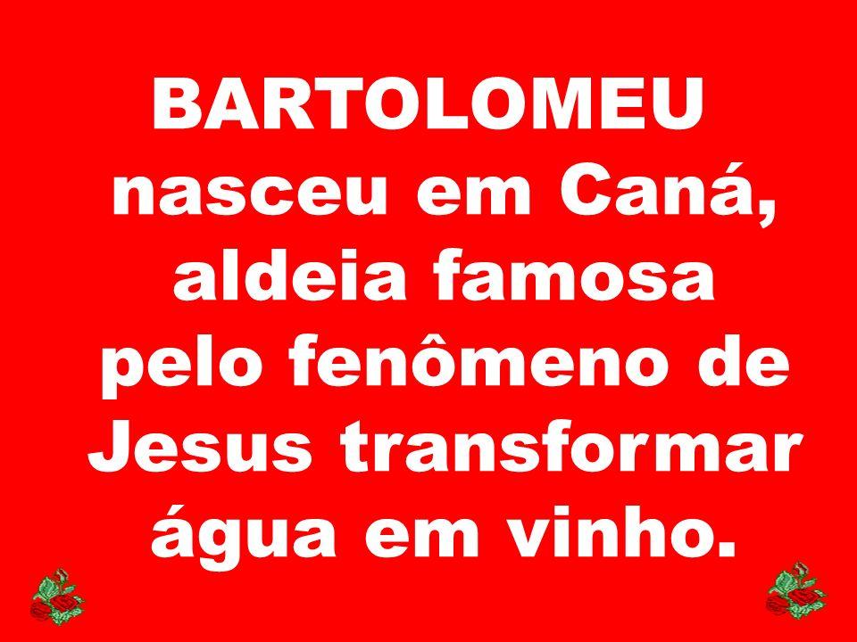 BARTOLOMEU nasceu em Caná, aldeia famosa pelo fenômeno de Jesus transformar água em vinho.