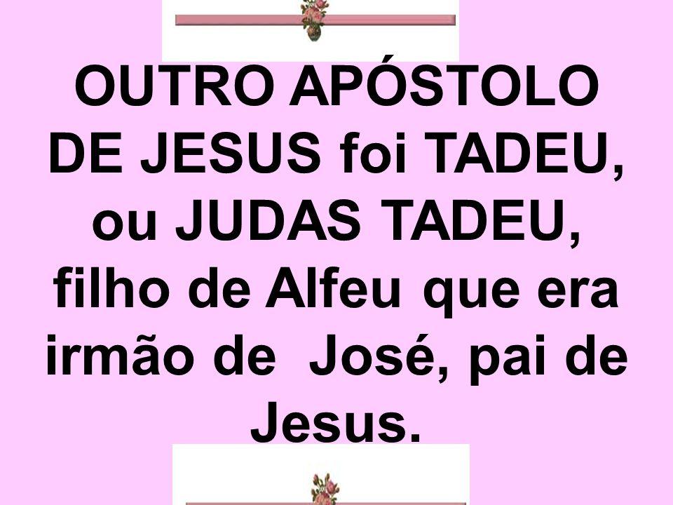 OUTRO APÓSTOLO DE JESUS foi TADEU, ou JUDAS TADEU, filho de Alfeu que era irmão de José, pai de Jesus.