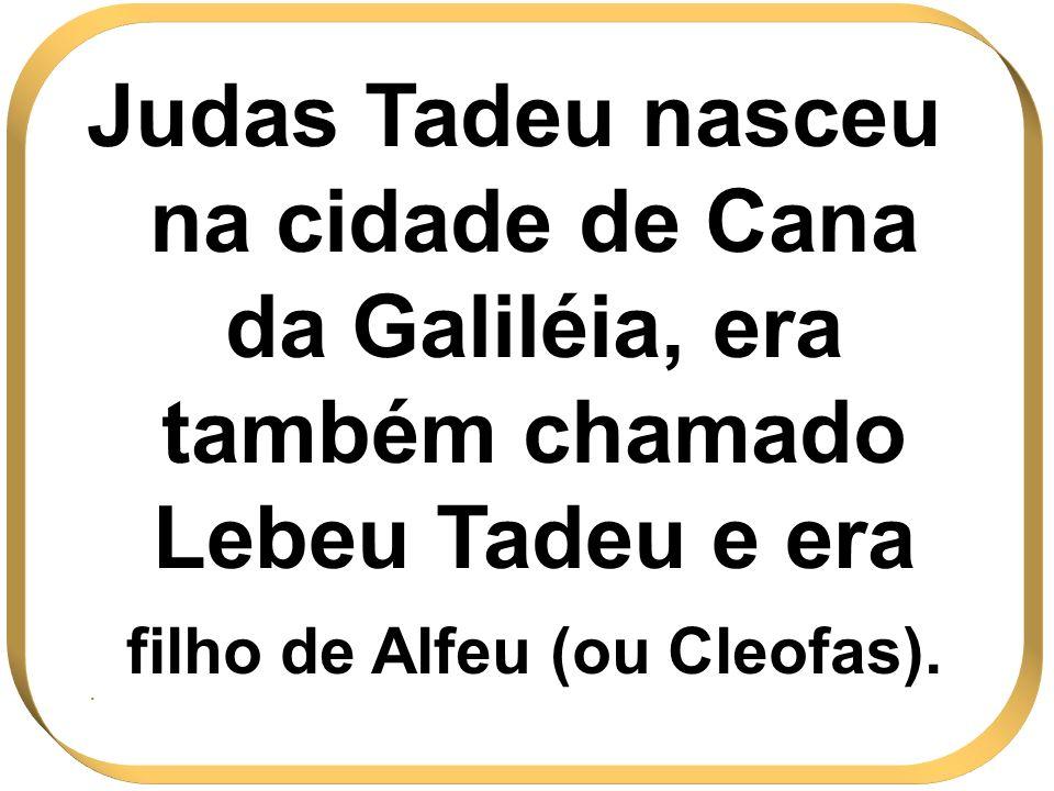 Judas Tadeu nasceu na cidade de Cana da Galiléia, era também chamado Lebeu Tadeu e era filho de Alfeu (ou Cleofas)..