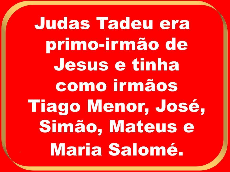 Judas Tadeu era primo-irmão de Jesus e tinha como irmãos Tiago Menor, José, Simão, Mateus e Maria Salomé..