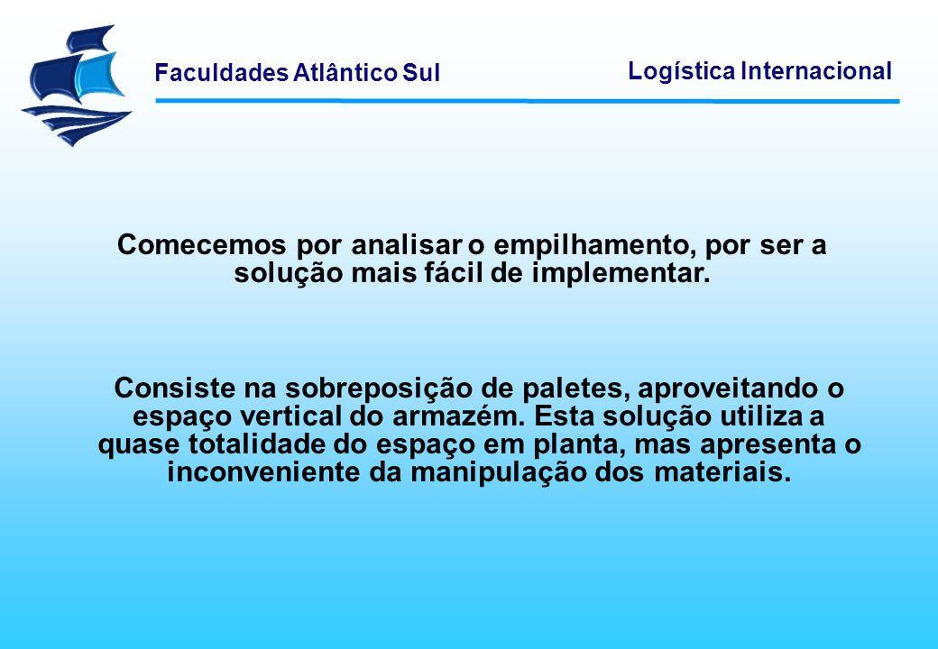 Faculdades Atlântico Sul Logística Internacional As grades móveis têm um funcionamento semelhante ao das estantes móveis, mas possibilitam a armazenagem de cargas paletizadas.