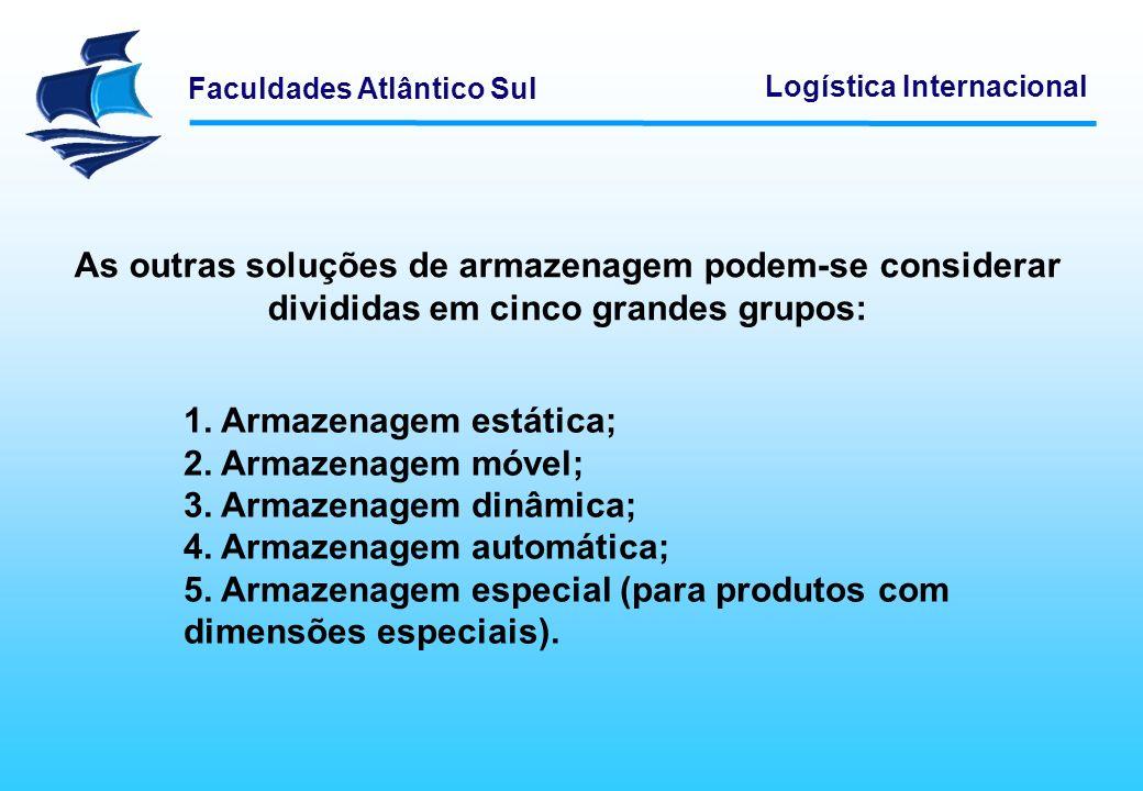 Faculdades Atlântico Sul Logística Internacional O equipamento móvel permite movimentar materiais entre dois pontos do armazém ou da fábrica através do seu próprio deslocamento.