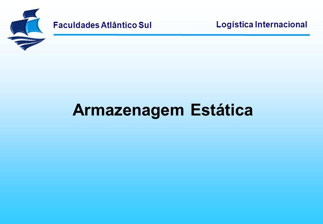 Faculdades Atlântico Sul Logística Internacional A armazenagem estática é a solução mais vulgarmente encontrada, devido ao baixo investimento necessário para a sua implementação.