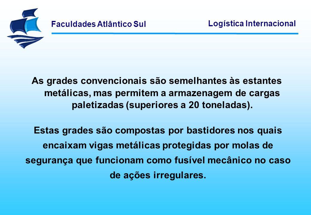 Faculdades Atlântico Sul Logística Internacional A armazenagem automática baseia-se numa estrutura equivalente às grades convencionais.