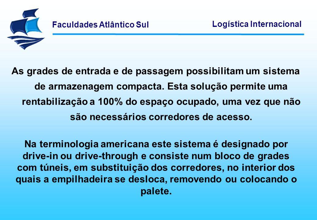 Faculdades Atlântico Sul Logística Internacional Este sistema obriga a um investimento unitário superior ao das grades convencionais e só permite uma altura de armazenagem até 10 m.