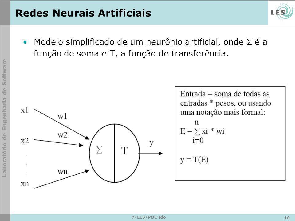 10 © LES/PUC-Rio Redes Neurais Artificiais Modelo simplificado de um neurônio artificial, onde Σ é a função de soma e T, a função de transferência.