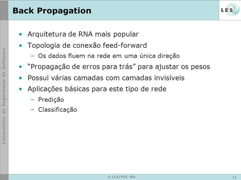 11 © LES/PUC-Rio Back Propagation Arquitetura de RNA mais popular Topologia de conexão feed-forward –Os dados fluem na rede em uma única direção Propa