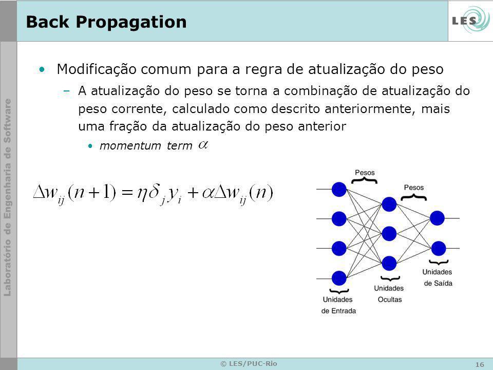 16 © LES/PUC-Rio Back Propagation Modificação comum para a regra de atualização do peso –A atualização do peso se torna a combinação de atualização do