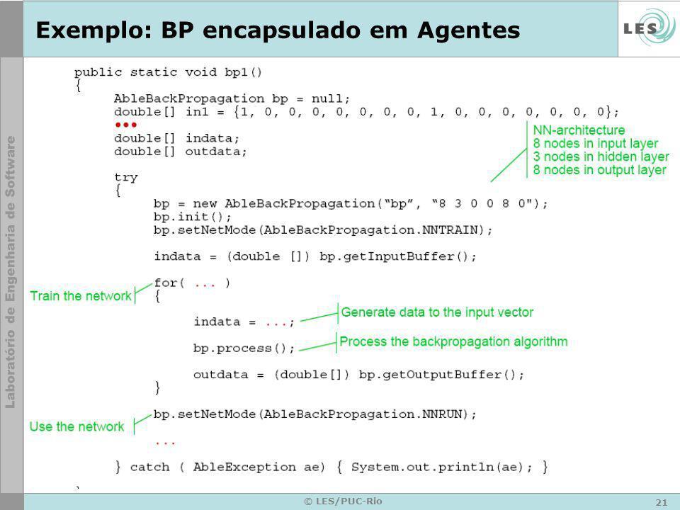 21 © LES/PUC-Rio Exemplo: BP encapsulado em Agentes