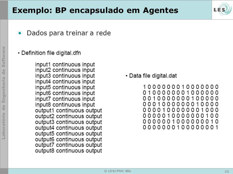 22 © LES/PUC-Rio Exemplo: BP encapsulado em Agentes Dados para treinar a rede