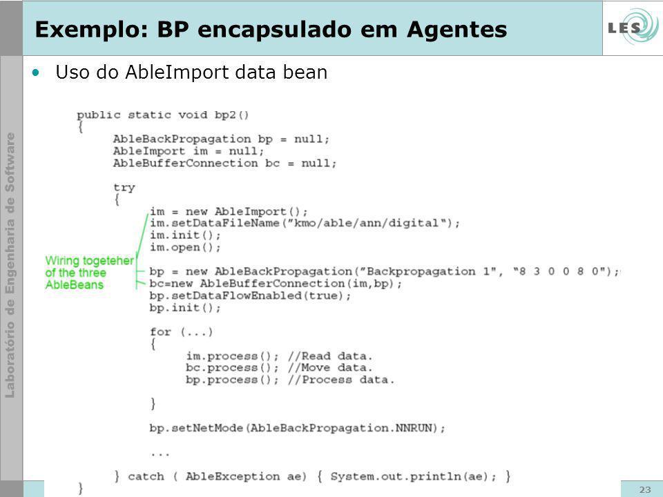 23 © LES/PUC-Rio Exemplo: BP encapsulado em Agentes Uso do AbleImport data bean