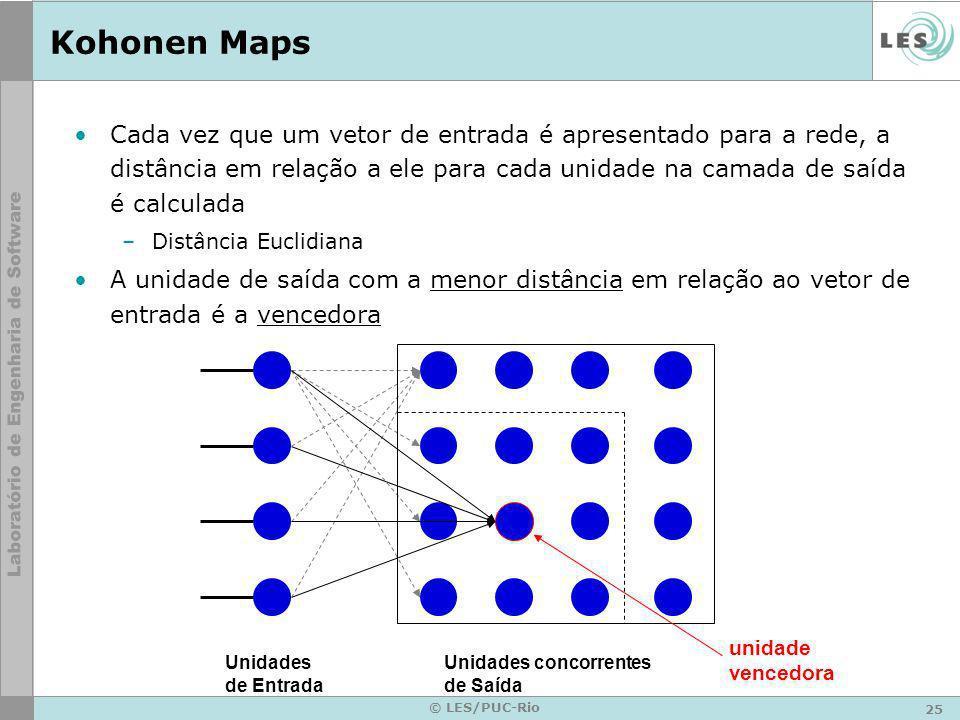 25 © LES/PUC-Rio Kohonen Maps Cada vez que um vetor de entrada é apresentado para a rede, a distância em relação a ele para cada unidade na camada de