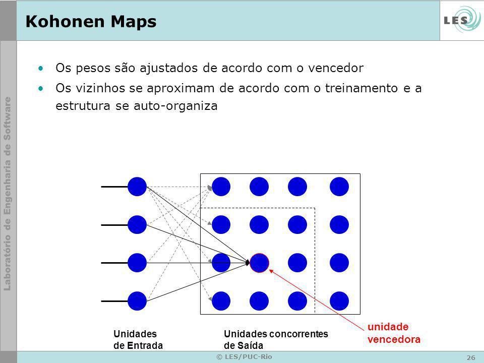 26 © LES/PUC-Rio Kohonen Maps Os pesos são ajustados de acordo com o vencedor Os vizinhos se aproximam de acordo com o treinamento e a estrutura se au