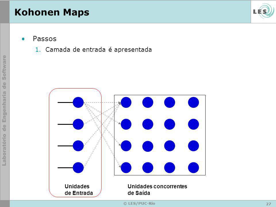 27 © LES/PUC-Rio Kohonen Maps Passos 1.Camada de entrada é apresentada Unidades de Entrada Unidades concorrentes de Saída