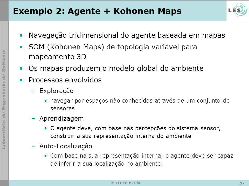 37 © LES/PUC-Rio Exemplo 2: Agente + Kohonen Maps Navegação tridimensional do agente baseada em mapas SOM (Kohonen Maps) de topologia variável para ma