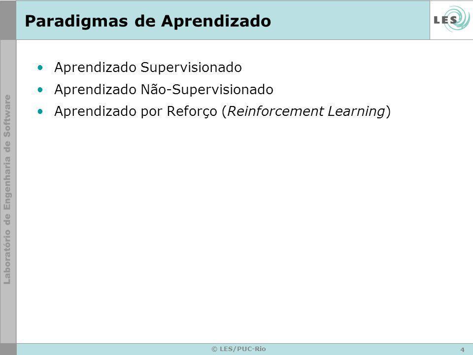 4 © LES/PUC-Rio Paradigmas de Aprendizado Aprendizado Supervisionado Aprendizado Não-Supervisionado Aprendizado por Reforço (Reinforcement Learning)